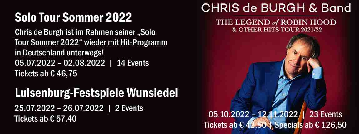 Chris de Burgh Tourprogramm 2021